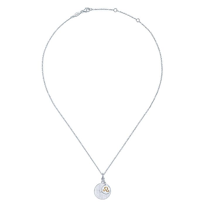 925 Sterling Silver-18K Yellow Gold Leo Zodiac Charm Necklace