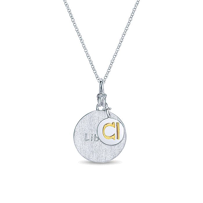 925 Sterling Silver-18K Yellow Gold Libra Zodiac Charm Necklace
