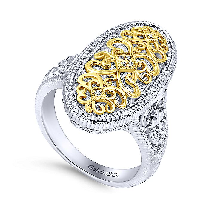 925 Sterling Silver-18K Yellow Gold Oval Filigree Diamond Ring