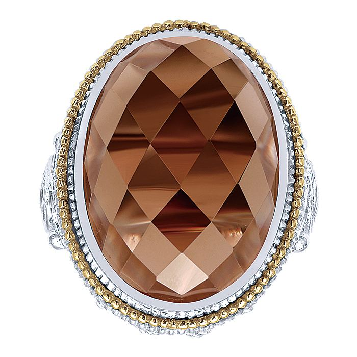 925 Sterling Silver-18K Yellow Gold Oval Smoky Quartz Ladies Ring
