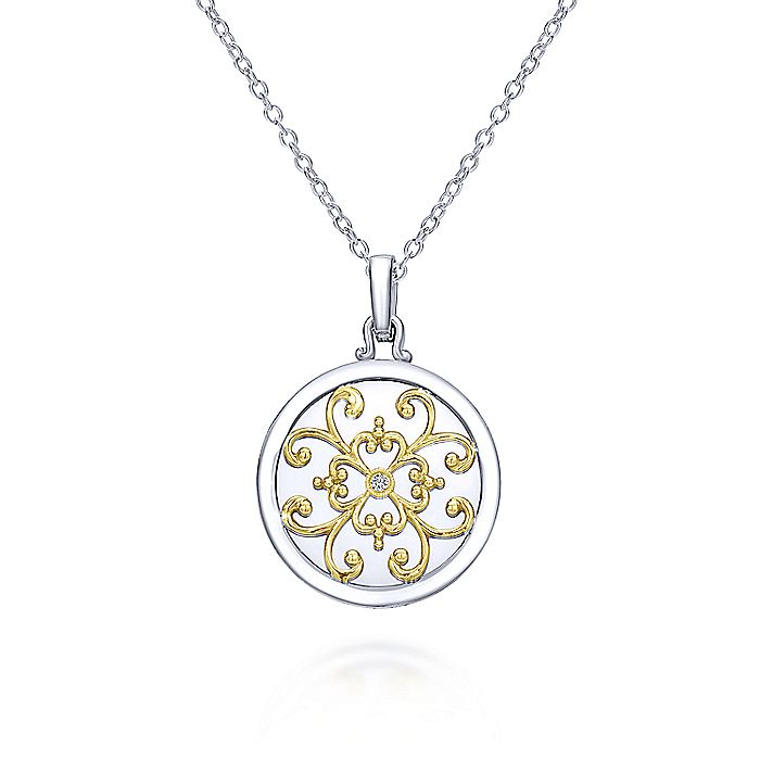 925 Sterling Silver-18K Yellow Gold Round Filigree Diamond Pendant Necklace