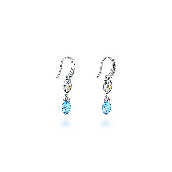 925 Sterling Silver-18K Yellow Gold Swiss Blue Topaz Drop Earrings