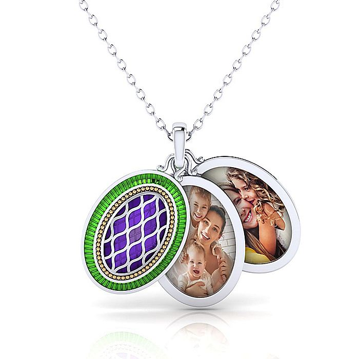 925 Sterling Silver-18k Yellow Gold Enamel Locket Necklace