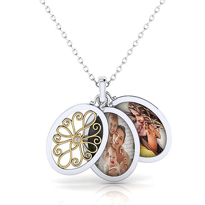 925 Sterling Silver/18k Yellow Gold Openwork Oval Locket Necklace