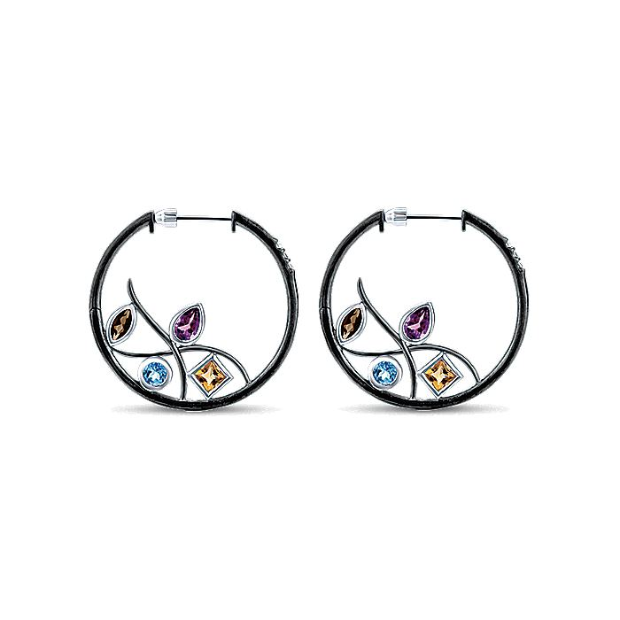 925 Sterling Silver 25mm Amethyst and Smoky Quartz and Citrine and Blue Topaz and White Sapphire Hoop Earrings