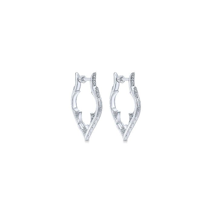925 Sterling Silver 25mm Intricate White Sapphire Earrings