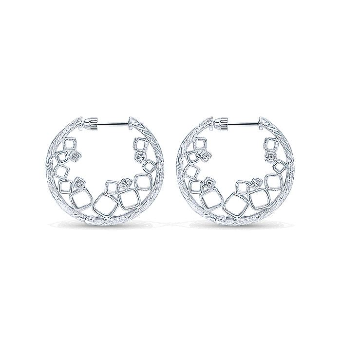 925 Sterling Silver 25mm Intricate White Sapphire Hoop Earrings