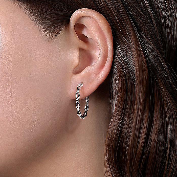 925 Sterling Silver 25mm Twisted Round Plain Hoop Earrings