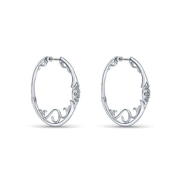 925 Sterling Silver 35mm White Sapphire Hoop Earrings
