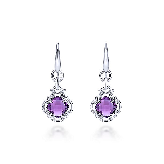 925 Sterling Silver Amethyst Clover Drop Earrings