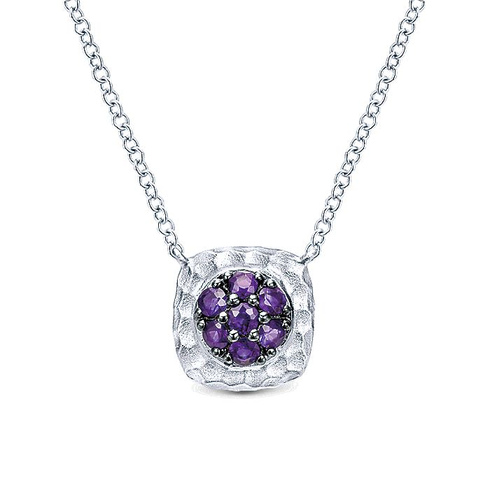 925 Sterling Silver Amethyst Cluster Pendant Necklace