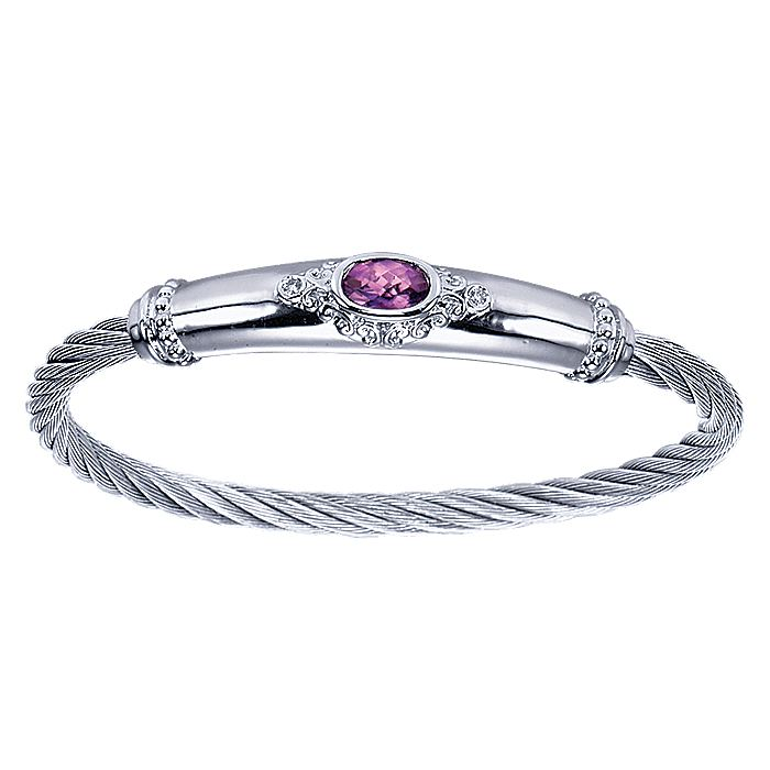 925 Sterling Silver Amethyst and Diamond Twisted Bangle