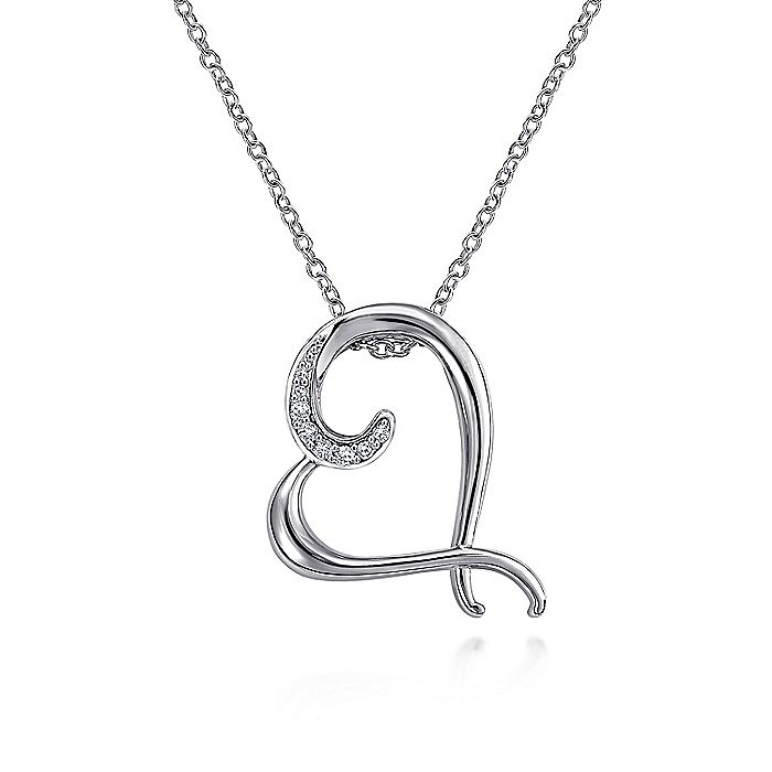 925 Sterling Silver Angled Open Heart Diamond Necklace