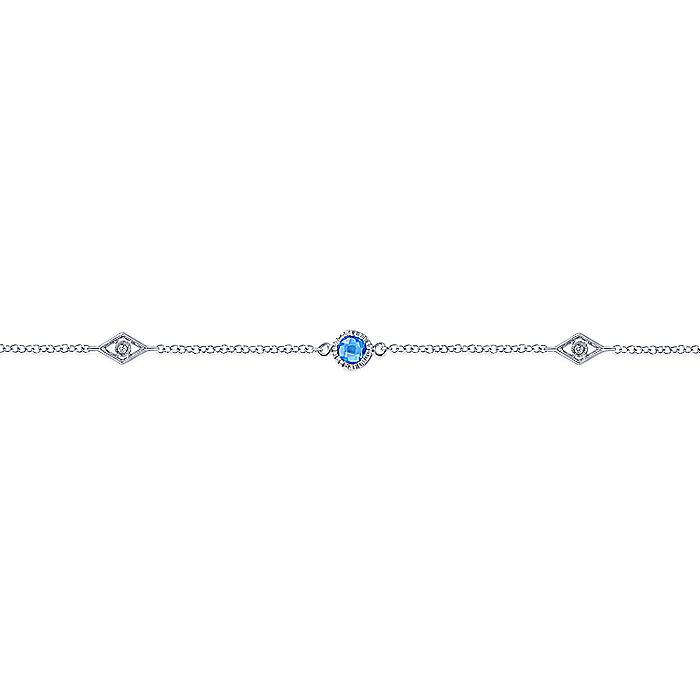 925 Sterling Silver Ankle Bracelet with Blue Topaz and White Sapphire Stations