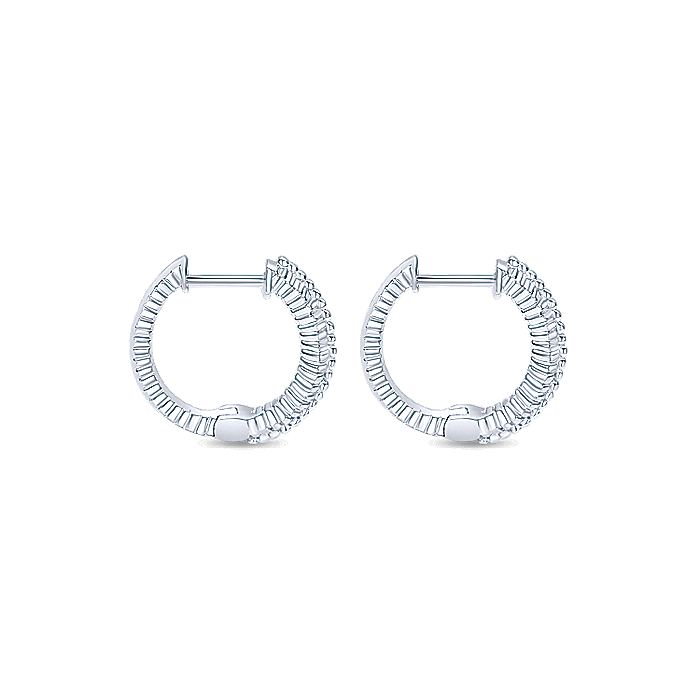 925 Sterling Silver Beaded 15mm Huggie Earrings