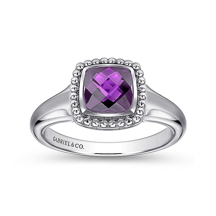 925 Sterling Silver Beaded Cushion Cut Amethyst Ring