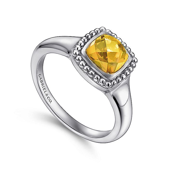 925 Sterling Silver Beaded Cushion Cut Citrine Ring