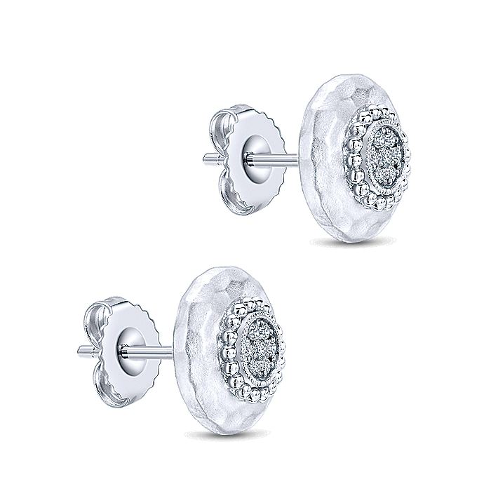 925 Sterling Silver Beaded Hammered Round White Sapphire Cluster Stud Earrings