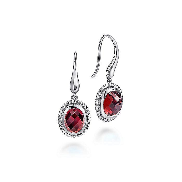 925 Sterling Silver Beaded Oval Garnet Drop Earrings