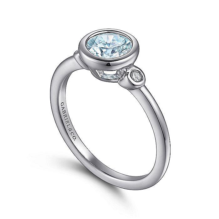925 Sterling Silver Bezel Set Aquamarine and Diamond Ring