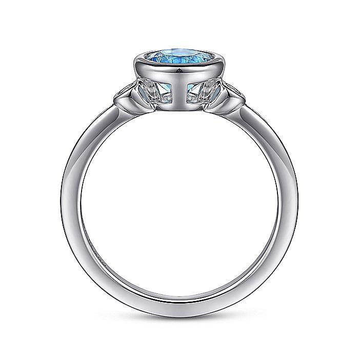 925 Sterling Silver Bezel Set Blue Topaz and Diamond Ring