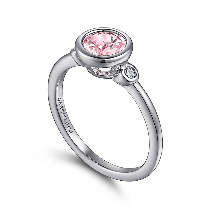 925 Sterling Silver Bezel Set Pink Created Zircon and Diamond Ring