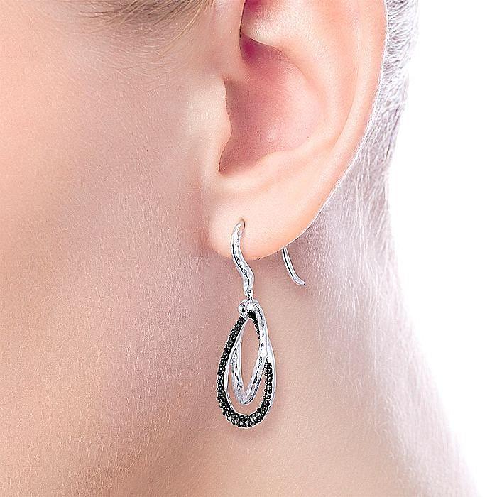 925 Sterling Silver Black Spinel Drop Earrings
