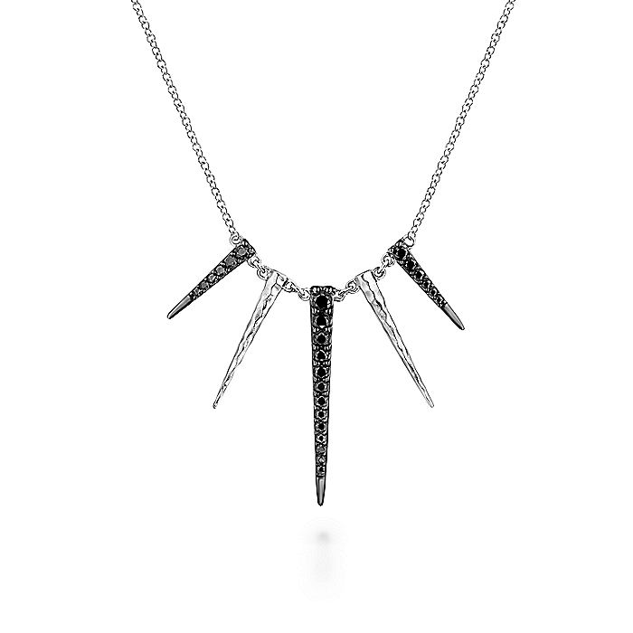 925 Sterling Silver Black Spinel Multi Spike Necklace