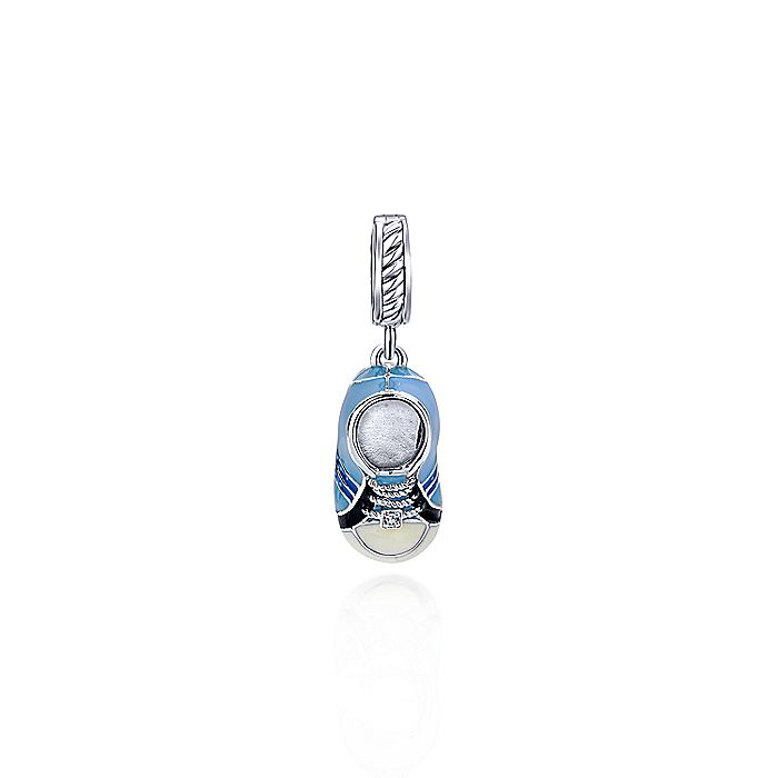 925 Sterling Silver Blue Enamel Baby Shoe Pendant with Diamonds