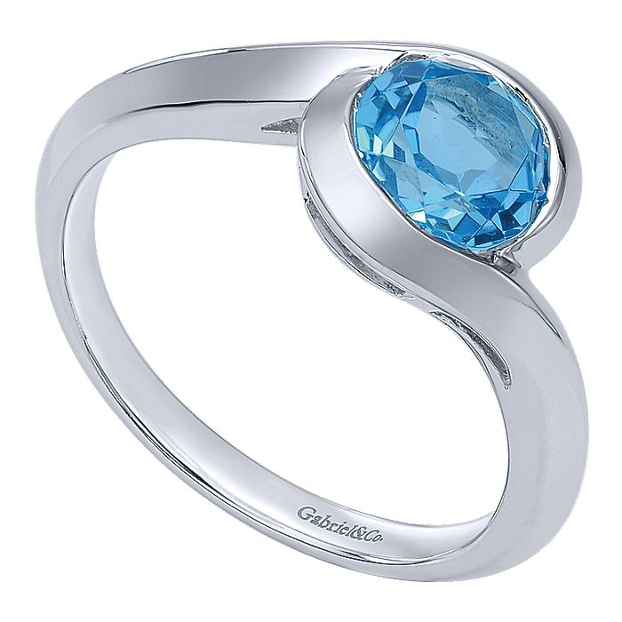 925 Sterling Silver Blue Topaz Bypass Ladies Ring