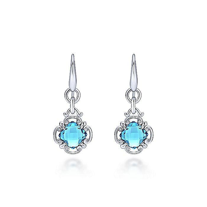 925 Sterling Silver Blue Topaz Clover Drop Earrings