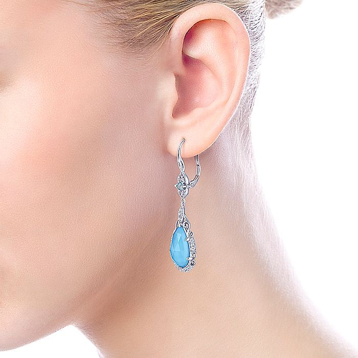925 Sterling Silver Blue Topaz, White Sapphire and Rock Crystal/Turquoise Drop Earrings