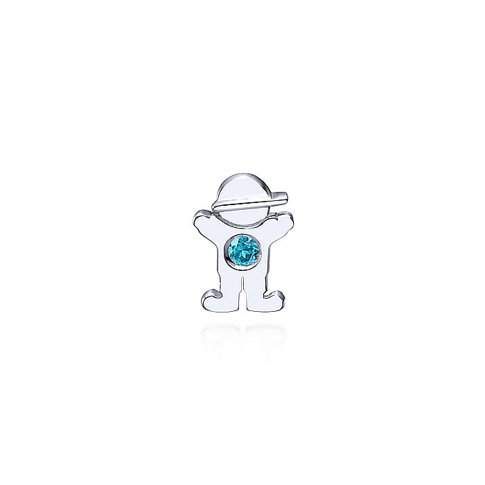 925 Sterling Silver Boy Figurine with Aquamarine Stone Pendant
