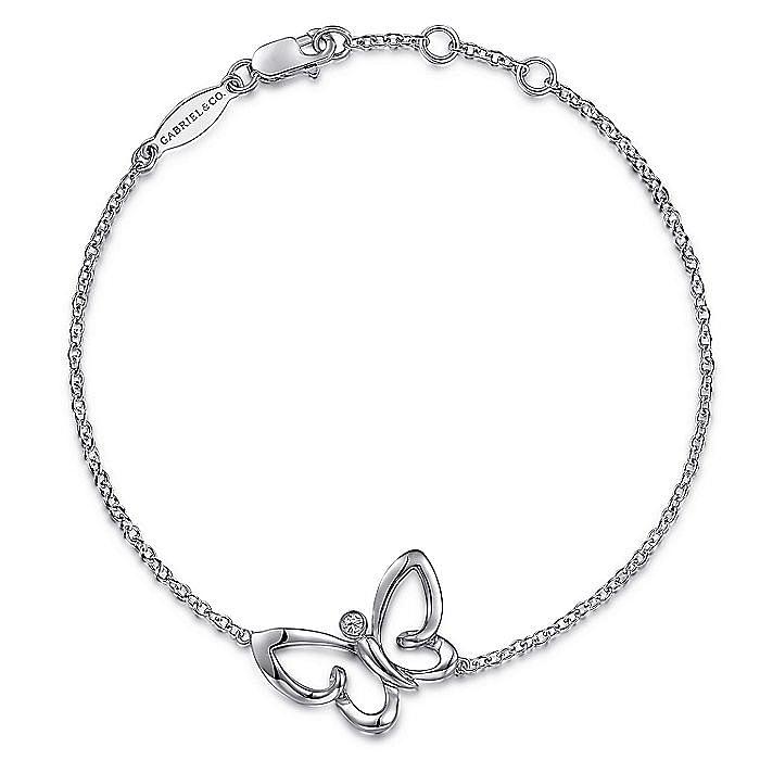 925 Sterling Silver Butterfly White Sapphire Bracelet