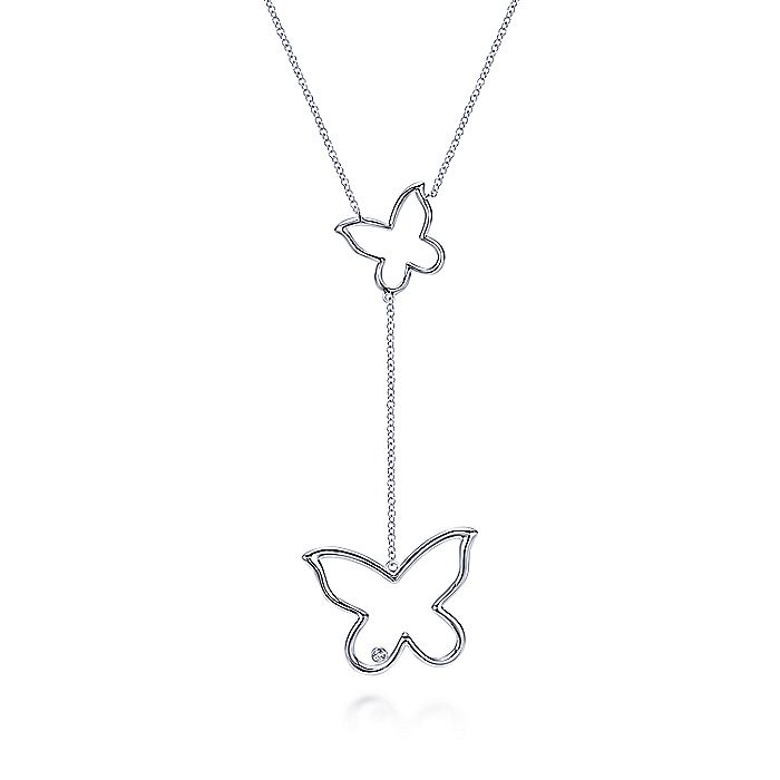 925 Sterling Silver Butterfly Y-Knot Diamond Necklace