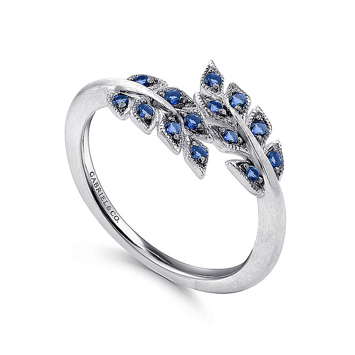 925 Sterling Silver Bypass Leaf Wrap Ring with Sapphire Stones