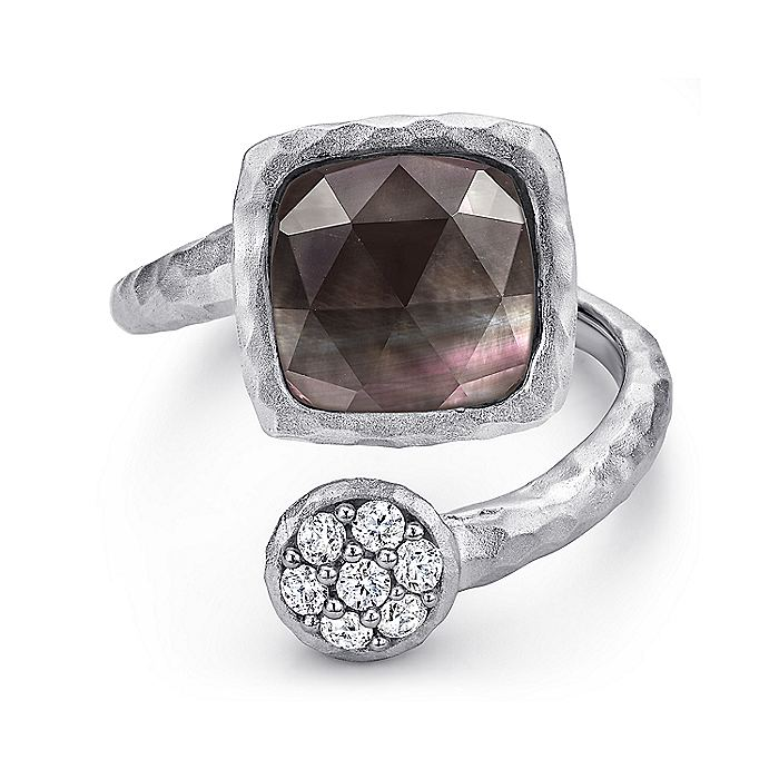 925 Sterling Silver Bypass Rock Crystal/Black MOP and White Sapphire Ring