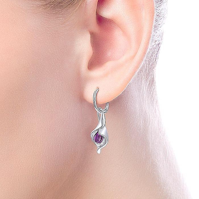 925 Sterling Silver Calla Lily Amethyst Drop Earrings