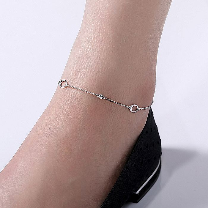 925 Sterling Silver Chain Ankle Bracelet with Oval Links and White Sapphire Stations