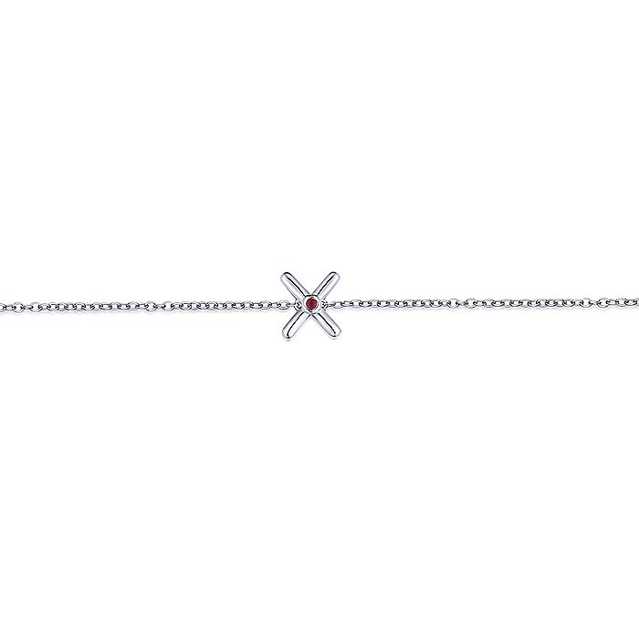925 Sterling Silver Chain Bracelet with Ruby