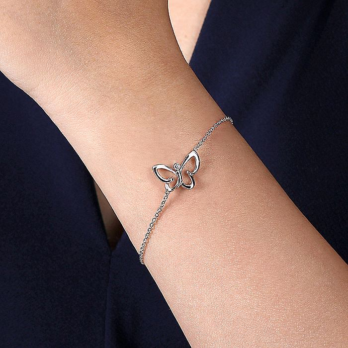 925 Sterling Silver Chain Bracelet with White Sapphire Butterfly Charm