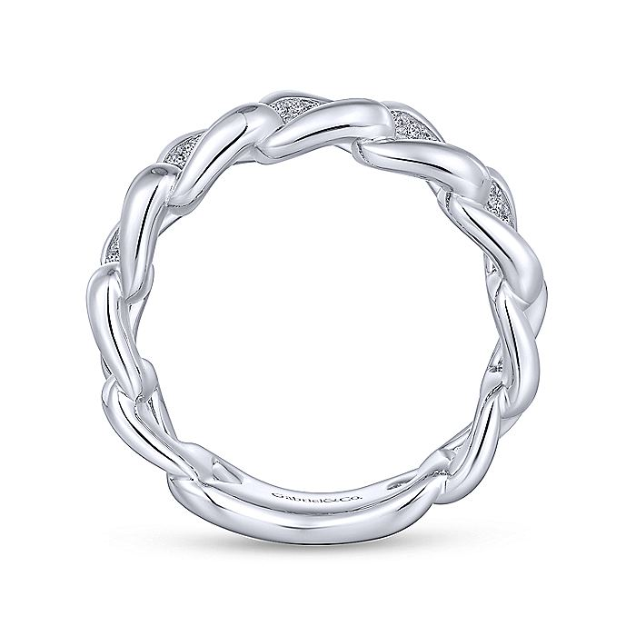925 Sterling Silver Chain Link White Sapphire Ring