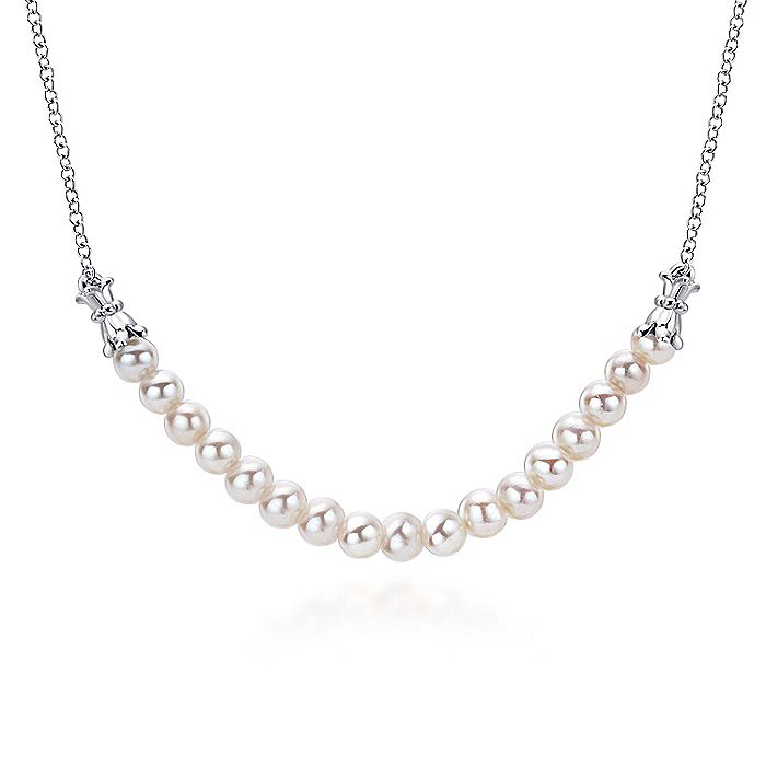 925 Sterling Silver Cultured Pearl String Necklace
