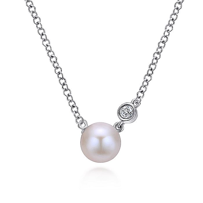 925 Sterling Silver Cultured Pearl and Bezel Set Diamond Necklace