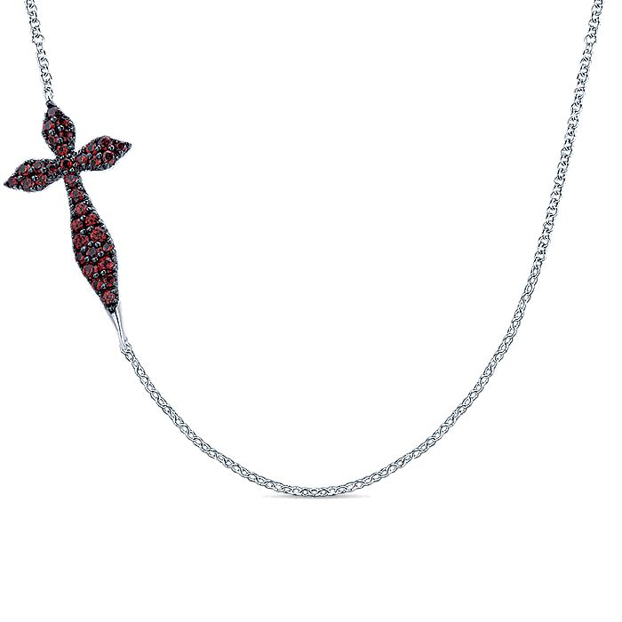 925 Sterling Silver Curving Sideways Garnet Cross Necklace
