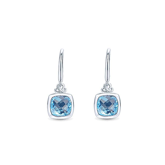 925 Sterling Silver Cushion Bezel Blue Topaz Drop Earrings
