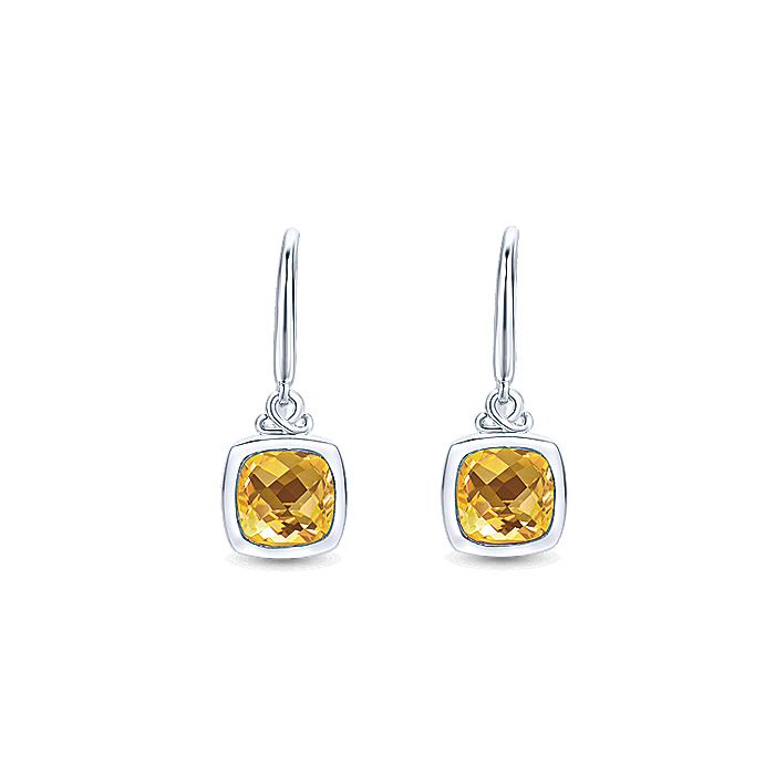 925 Sterling Silver Cushion Citrine Drop Earrings