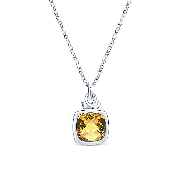 925 Sterling Silver Cushion Citrine Pendant Necklace