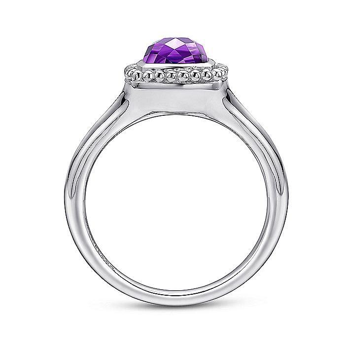 925 Sterling Silver Cushion Cut Amethyst Beaded Ring