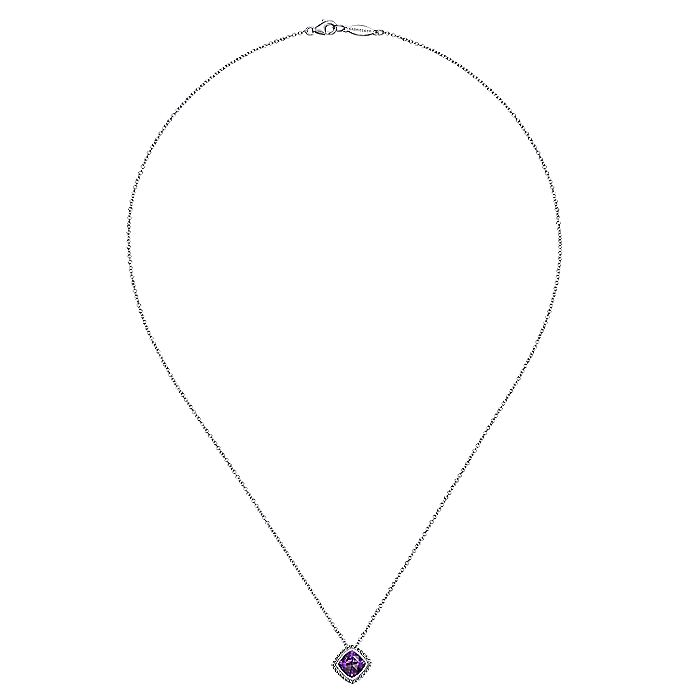 925 Sterling Silver Cushion Cut Amethyst Pendant Necklace